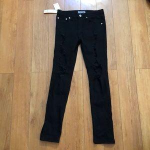 OUYE Black Skinny Ripped Jeans Sz M NWT